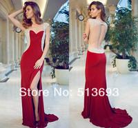 Sheer Fashion Evening 2014 Crystals Chiffon Long Open Back Women Plus Size Girls Vestidos De Fiesta Prom Dresses Red