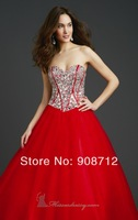 New Style ! A-line Strapless Sweetheart Stunning Prom Dresses ,Ball Gown 2014 Adorned with Dazzling Beads.
