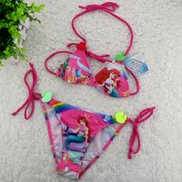 wholesale rainbow baby girls swimsuit Little Mermaid Bikini Swimwear  pink kids summer Beachwear (3T-12T) 5pcs/lot