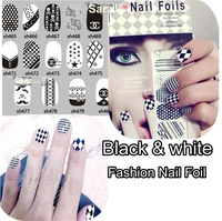 10sets x 2014 Black&White Fashion Salon express Nail Foil of Nail Art Stickers Decoration KMO14