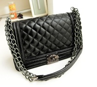 1 piece free shipping woman Fashion handbag Classic Plaid Chain Shoulder Bag PU  Casual  Messenger  Bag