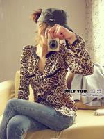Plus size women leopard print shirt long sleeved blouse chiffon shirt blouse for female