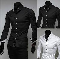 Free Shipping 2014 hot sale long Sleeve Shirts Slim fit Mens dress shirts white and black asian size: M-XXL 5006