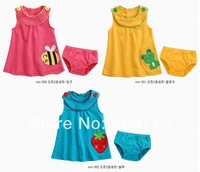 2014 New arrive  children girls summer Strawberry with dot  girls dress+underwear two pcs set  chidlren cotton suit clothing set