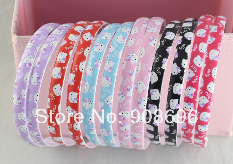 "120Pcs Plastic Kitty Prints Headbands hairstyles Tone Craft Lovely Plain Headwear 1/2"" with Teeth --Free Shipping-(China (Mainland))"