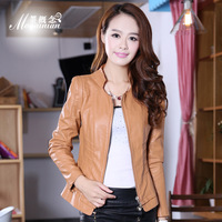Pu clothing 2013 autumn short design women's slim motorcycle leather clothing plus size outerwear female
