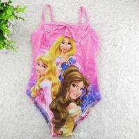 wholesale baby girls swimwear princess one piece swimsuit pink blue kids summer Beachwear (3T-12T) 5pcs/lot