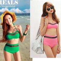 Promotion Free shipping 2014 New Summer high waist multi color women bikini set swimsuit swimwear bathing suit
