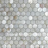 Sexangle Shell Mosaic Tiles, pure white Shell tiles, Naural Mother of Pearl Tiles, bathroom wall flooring tiles