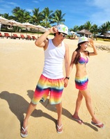 free shipping New arrive rainbow Stripe lovers beach shorts Casual pants