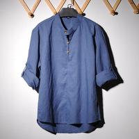New 2014 Spring Linen Casual men shirt Korean long sleeve high quality fabric polo shirts 5 color Size: M-XXL