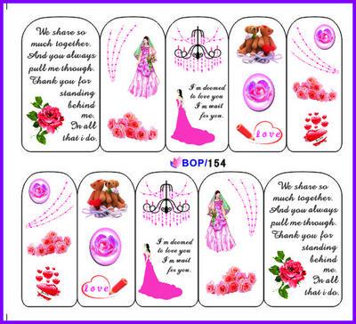3D watermark printing applique deca Diy nail art stickers full finger hot-selling hot film(China (Mainland))