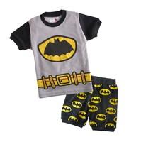 Baby boy/girls Batman Pajamas suits 2014 new Kids Sleepwear Shirts+pants Children Bat short sleeve nightclothes 2-7Y 1002