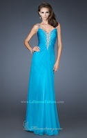 Hot Sell ! Long Spaghetti Strap Chiffon Designer Stunning Evening Gown,Party Dress 2014 with Stone and Beaded Bodice