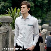 New 2014 Spring Linen Casual men shirt patchwork turn down collar high quality fabric shirts gray Size: S-XXXL