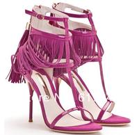 Summer Beautiful Girls New Fashion Pink High Heel Tassels Sandals Free Shipping