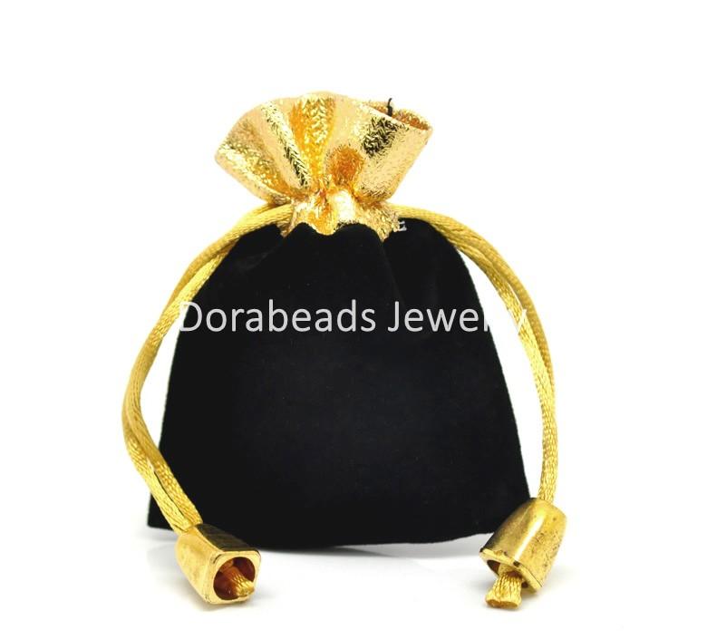 "hot- 10PCs Black Velvet Drawstring Pouches Jewelry Gift Bags 7cmx9cm(2 6/8""x3 4/8"") (B20222)(China (Mainland))"