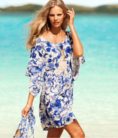 Women's  ice Silksand beach holiday dress beach dress retro printing dress