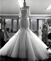 Sexy fish tail pearl slim hip racerback wedding rhinestone and pearls beading lace dress for custom