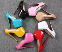 2014 New Foreign Trade Lady's Sexy Candy Patent Leather Low-Cut party night Fashion High Heeled Party Pumps big size 35-44 DX284