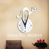 [listed in stock]-28x37cm(11x15in) Modern Abstract Cat Wall Clock Kitchen Mirror Sticker Home Decoration (wc1349)