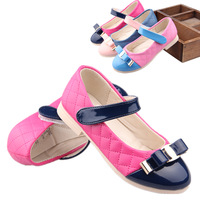 2014 spring PINK/BLUE/ROSEO velcro PU patchwork childred shoes casual bow princess sneaker gilrls single shoes with buckle