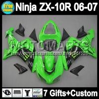 7gifts Body For KAWASAKI NINJA ZX10R Green blk 06-07 ZX-10R 10R ZX 10R Factory green 10 R 20Q38 06 07 2006 2007 Fairing Kit