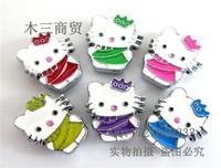 Fit 8MM belt DIY handmade rhinestone jewelry KT slider charms, hello kitty stuff, hello kitty charms 100pcs, hello kitty pendant