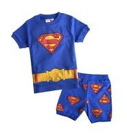 Baby SUPERMAN Pajamas suits 2014 Summer new Kids Sleepwear Shirts+pants Children boy short sleeve nightclothes 6set/lot 1010