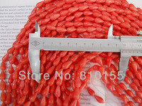 8mm Orange Natural Coral Beads Drop Shaped Earring Beads Teardrop 15.5'' Full Strand