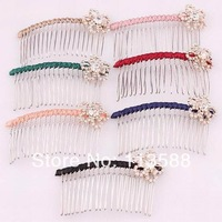 30pcs/lot Free shipping HA0389 flower crystal rhinestone women hair accessories