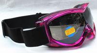 Rayzor  Double Lens Polarized AntiFog Windproof Ski Goggles UV400 Protection Snowing Glasses bright purple frame black lens