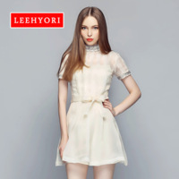 Leehyori 2014 new arrival spring female organza slim one-piece dress handmade beaded