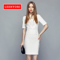 Leehyori 2014 women's spring lace crochet patchwork slim hip slim half sleeve one-piece dress