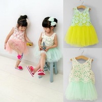 Retail!  Summer 2014 New Children Dress retail openwork lace vest harness + tutu princess dress girls print dress free shipping
