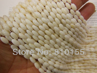 8x4mm Rice Shape Natural White Coral Beads Earring Necklace Beads Oval 15.5'' Full Strand