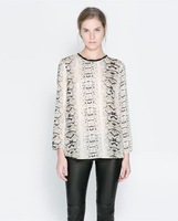 Women's 2014 o-neck shirt long-sleeve women's serpentine pattern print chiffon shirt 337 - 60