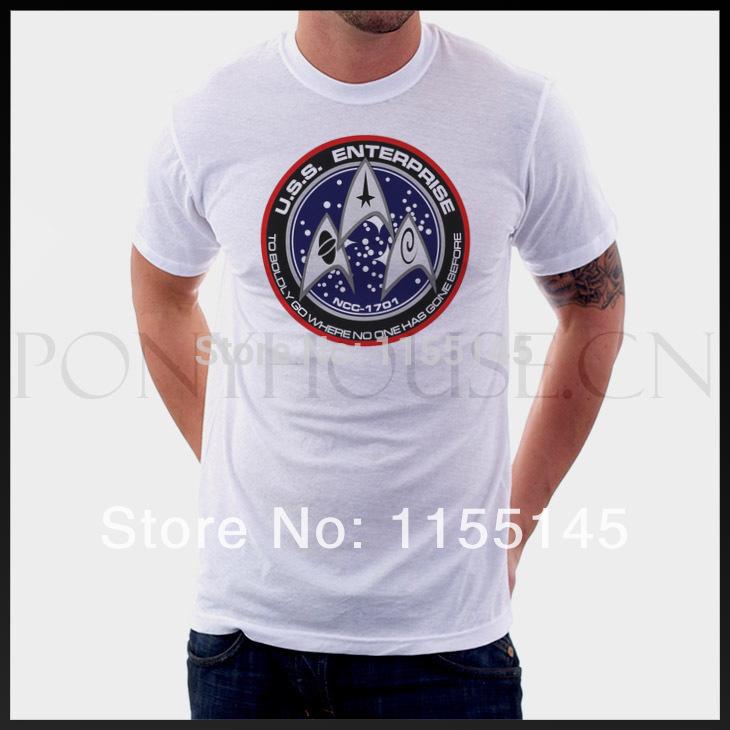 Free shipping STAR TREK USS ENTERPRISE White/Gray T-shirt Comfortable men t shirt(China (Mainland))