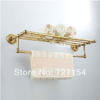 Free Shipping! NEW Golden Brass Wall Mounted Bathroom Shelf Towel Rack Storage Towel Bar Holder