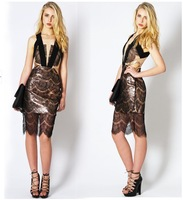 Free Shipping   2014 Deep V lace leather skirt pencil skirt bandage dress FT648