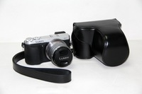 Black  Leather Camera Case Bag For Panasonic Lumix DMC-GX7 GX7 (14-42mm) + Free shipping