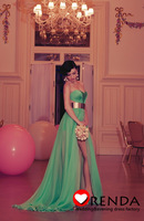 Custom Made 2014 New Arrival Hot Sexy Sweetheart Mint Green Chiffon Long Front Slit Evening Prom Dresses Orenda