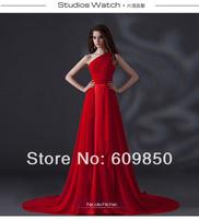 2014 Free Shipping Hot Sale  One Shoulder Floor-length Chiffon Long Pleats Beautiful Evening Prom Party Graduation Dresses