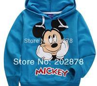 Children  1pcs kids long-sleeved t-shirt  Blue Mickey Minnie Hello  As Boy  free shipping