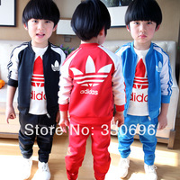 2014 children's clothing stand collar male female child child sports outerwear trousers 2 casual sports set