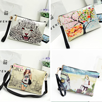 Wholesale 2014 Printing Design Women Bag Clutch Bags Envelope Party Bag Cross-body Femal Messenger Bags