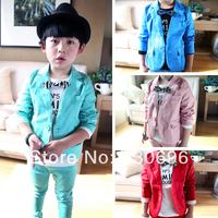2014 children's clothing child candy color suit 2 piece set male child blazer outerwear set