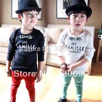 Korean children IMSWEET2014 spring wild child solid alphabet boys and girls long-sleeved T-shirt bottoming shirt