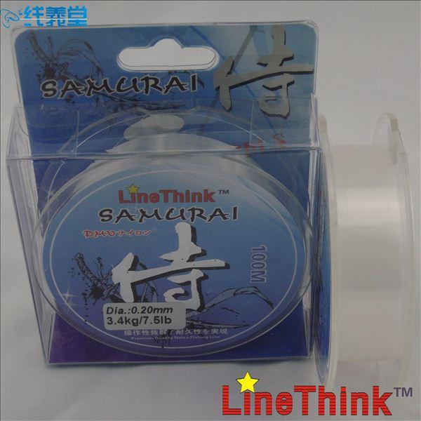 100M LineThink Color Clear Samurai Extra Soft Nylon Mono Fishing Line Free Shipping(China (Mainland))