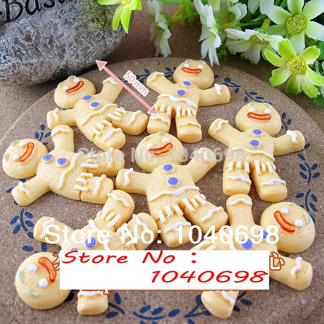5pcs/lot classic Gingerbread Man 50mm flat back resins kawaii cabochon crafts DIY christmas(China (Mainland))